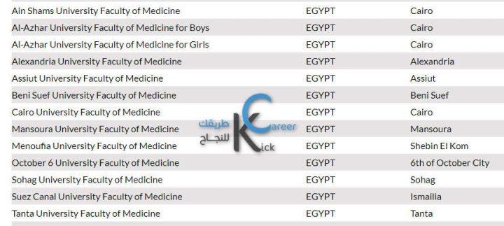 الجامعات المصرية المعتمدة  لدراسة الطب في أمريكا